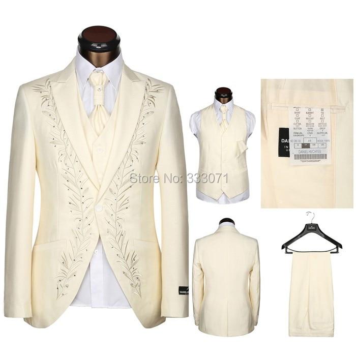 Ultimi Coat Pantaloni Designs Su Misura Strass Uomo Vestito bianco nero Crema ricamo Abiti Da Sposa Per Uomo Smoking Dello Sposo 3 Pezzo
