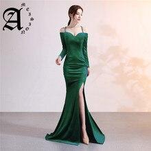 Ameision Evening dress Boat Neck Spaghetti Strap Full sleeves velvet party gown Crystal Floor-length zipper Mermaid prom dresses