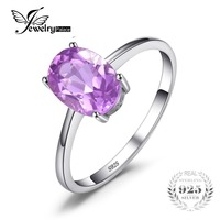 New High Quality Natural Stone Amethyst Engagement Rings Genuine Solid 925 Sterling Silver Oval Cut Women