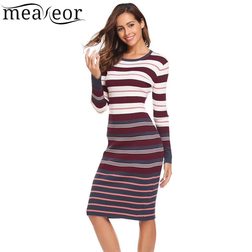 Meaneor Autumn Striped Knitted Sweater Dress Women Casual Long Sleeve O Neck Pullover Sweater Dresses Sheath Spring Winte 2017 women s casual style round neck half sleeves striped pullover sweater