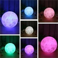 3D Printed Full Moon LED Night Light Touch Switch Desk Lamp USB Colorful Changing Lunar Lamp