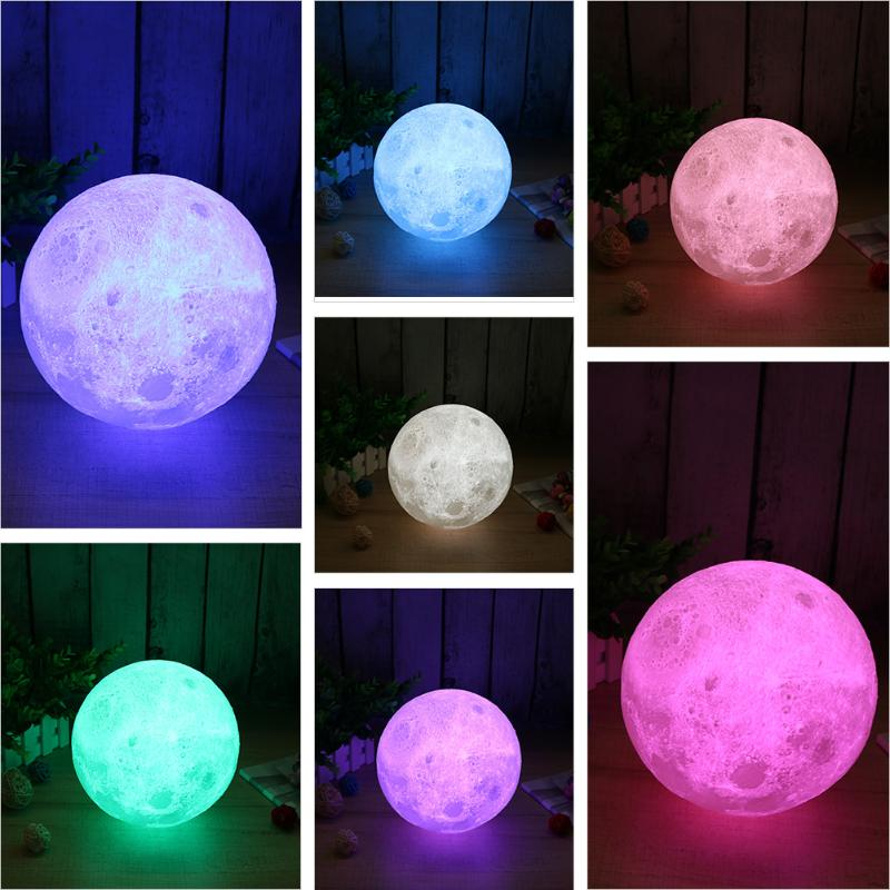 3D Printed Full Moon LED Night Light Touch Switch Desk Lamp USB Colorful Changing Lunar Lamp Bedside Decoration