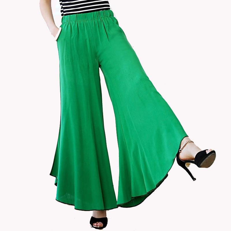 c27b8c62e8c Long Gaucho Boho Flare Elephant High Waist Wide Leg Chic Sophisticated  Casual Sassy Pants Tie-dyed wide leg pants Dance Culottes