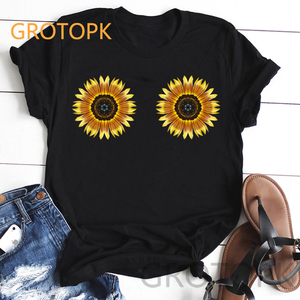 Cute Sunflower Bust Spoof Prints Female T-shirt BFF Best Friend Harajuku Aesthetic Women Black T Shirt Clothes Summer 2019 Tops