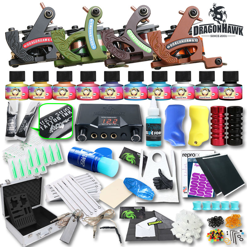 Professional complete tattoo kit tattoo machine lcd power for Supplies for tattooing