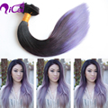 8A grade1b#/purple two tone ombre virgin human hair extension peruvian hair double drown human hair clip in hair extension