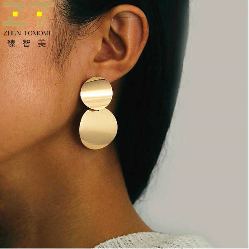 Geometric Metal Double Round Drop Earrings For Women Fashion Jewelry Boucle D'oreille Femme Pendientes Mujer Moda 2019 Brincos