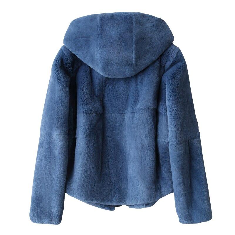 Ispessimento caldo natural rex rabbit fur coats donne zipper hooded tutta la pelle di alta qualità vera pelliccia giacche per l'autunno e inverno