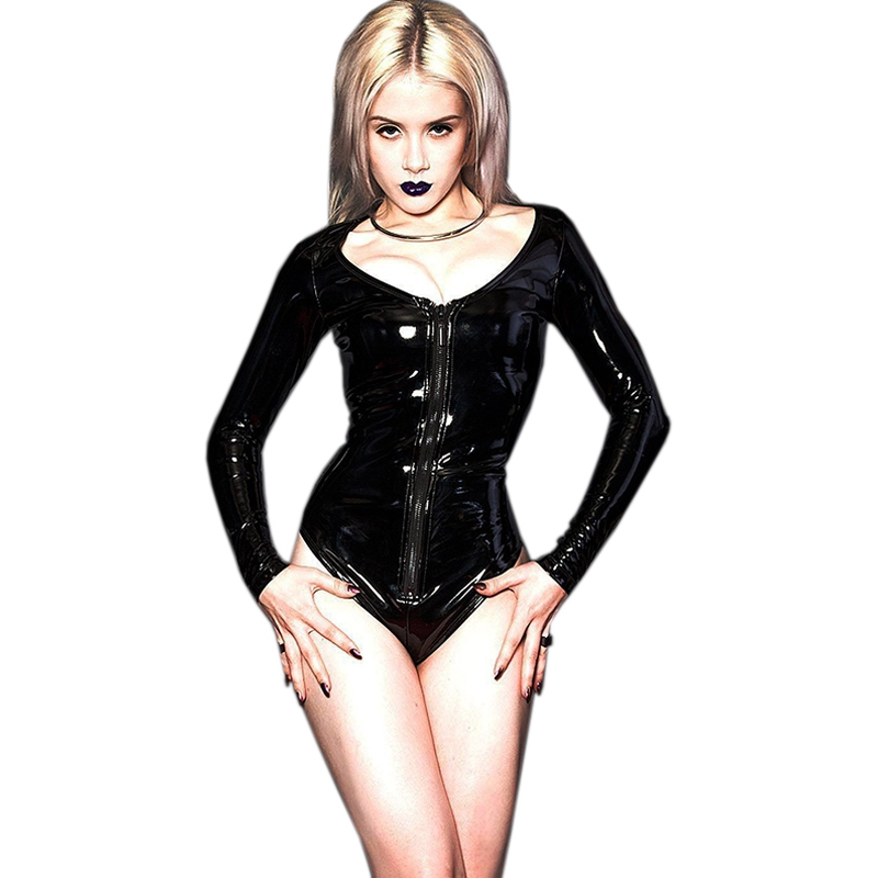 S-3XL Black Wetlook Vinyl Leather Long Sleeve Bodycon Bodysuit Women Jumpsuit 2017 Rompers Jumpsuits Playsuit Sexy Overalls