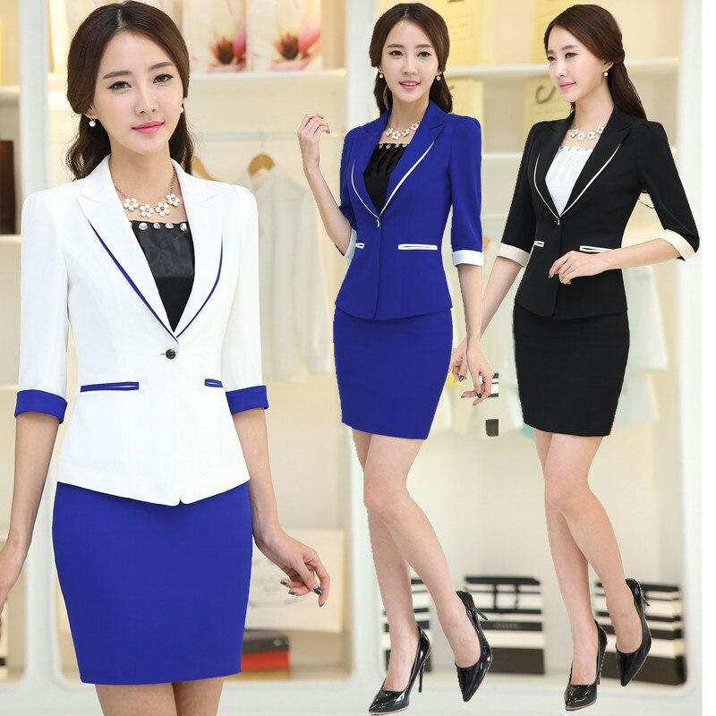 4806fa11b Nueva elegante primavera verano mujeres juegos de falda para mujer trabajo conjunto  chaqueta + falda mujer estilo de la oficina uniforme más el tamaño XXXL ...