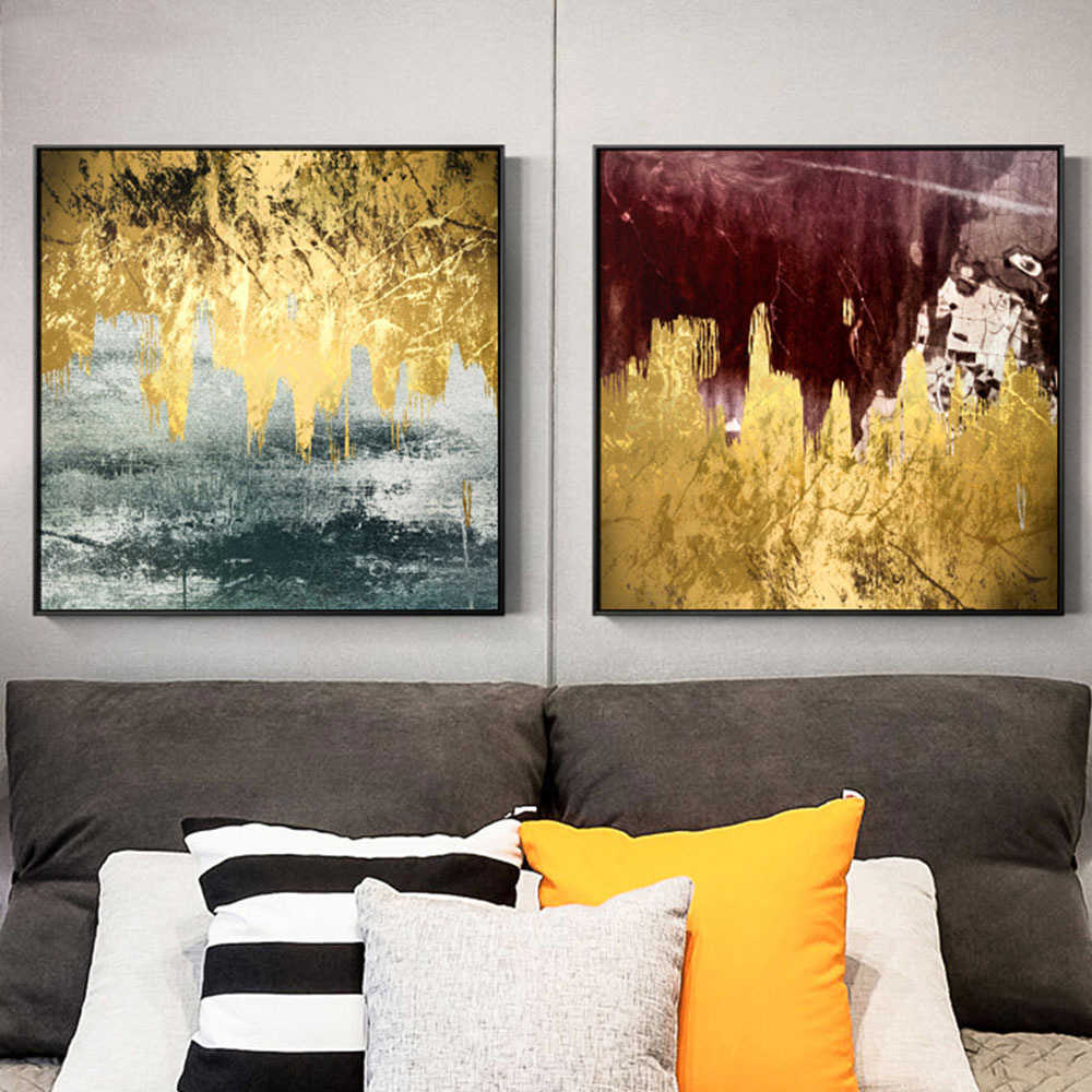 Nordic Poster Gold Foil Marble Texture Abstract Painting Modern Pictures Wall print Art Canvas for Living Room Home Decor Square