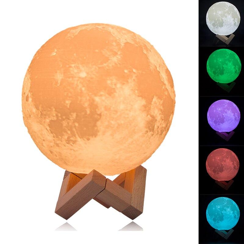 HAIXIANG 3D Print Full Moon Light Simple Personality  Creative Desk Lamp Night Lights MoonLight Decoration Lighting Gift Box