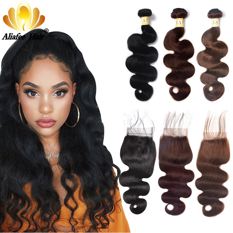 Aliafee Hair #1b/2/4 Color Brazilian Body Wave Bundles With Closure Brazilian Hair Weave Bundles With Closure Human Hair NoRemy