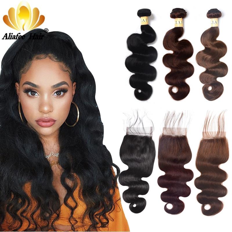 Aliafee Hair #1b/2/4 Color Brazilian Body Wave Bundles With Closure Brazilian Hair Weave Bundles With Closure Human Hair NoRemy