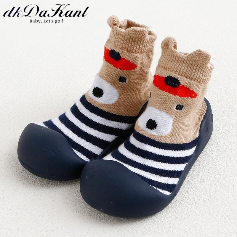 dkDaKanl 2018 Newborn Baby Color Stripe Animal Cartoon Soft Bottom Shoes Prewalker Warm Terry Slip-on Anti Slip Socks Infant
