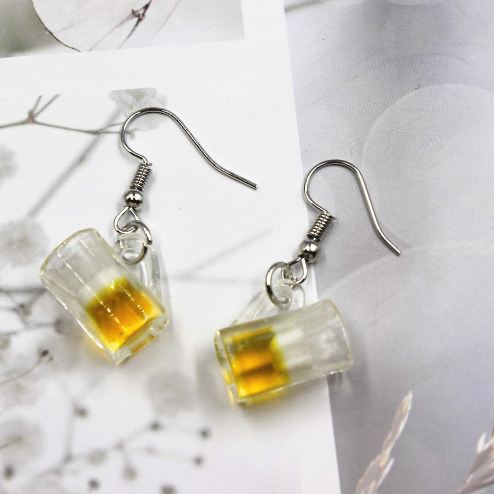 New Simulation  Beer  Cup Earrings  Fashion  Creative Earring For Women Gift Earrings Jewelry Wholesale