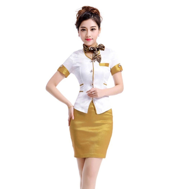 Бесплатная доставка лето формальная работа носить золотой женщины работают единый офис вычура юбка краткое авиакомпания форма Большой размер XXL