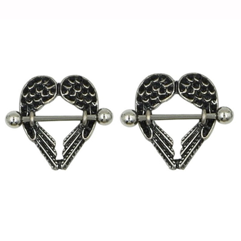 Showlove 2pcs Stainless Steel Angle Wing Nipple Rings