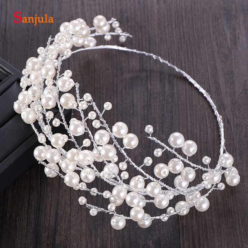 2019 Pearls Headband For Brides Elegant Silver Wedding Tiaras And Crowns Round Bridal Head Accessories T115
