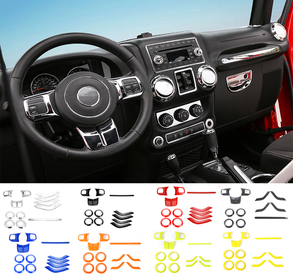 XBEEK Interior Mouldings ABS Car Steering Wheel Trim Air Condition Vent Cover Interior Stickers For Jeep Wrangler 2011-2017