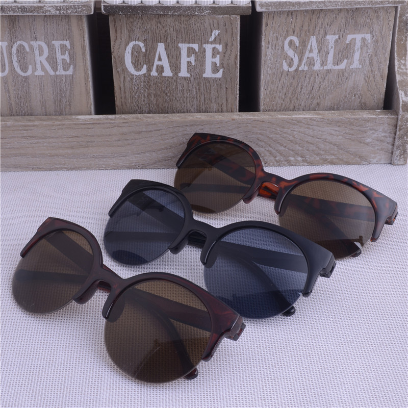 2018 New Fashion Vintage Sunglasses Retro Cat Eye Semi Rim Round Sunglasses for Men Women Sun