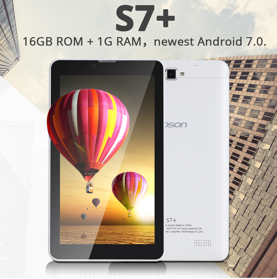 3G Aoson S7+ 7 inch Phone Call Tablet PC Android 7 0 16GB
