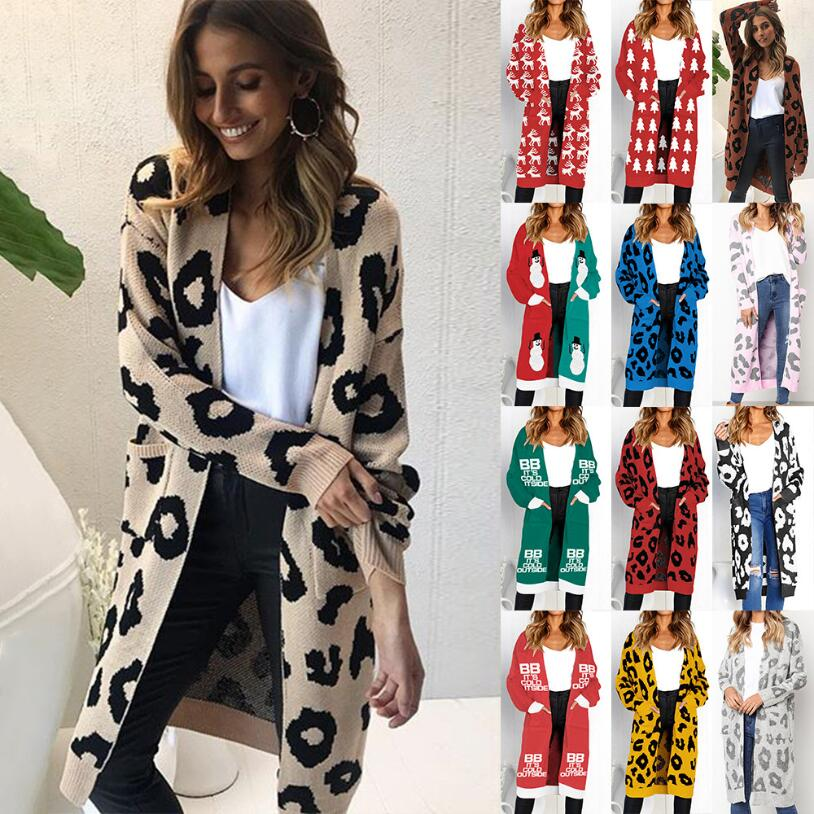 Spring & Autumn Winter Fashion Women Cardigan Christmas Leopard Print Pocket Sweater Price $21.99