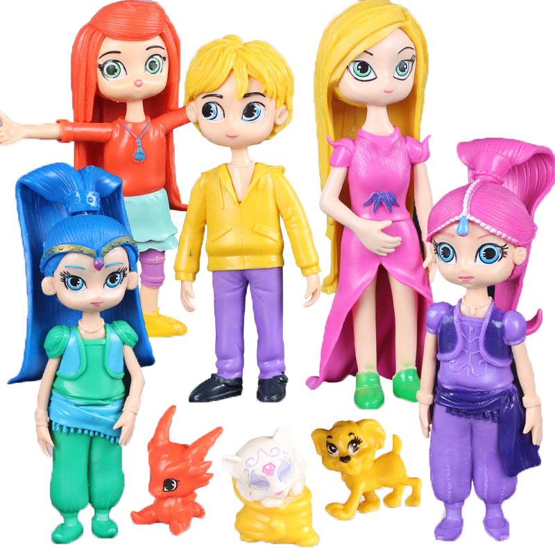 Elsadou 8Pcs/set Shimmer and Shine PVC Action Figure Toys for Children Collection Doll new hot 17cm avengers thor action figure toys collection christmas gift doll with box j h a c g