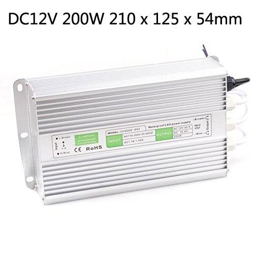 10 pièces DHL livraison gratuite étanche 110 V-240 V DC12v 200 W adaptateur transformateur alimentation pilote lumière LED Ip67