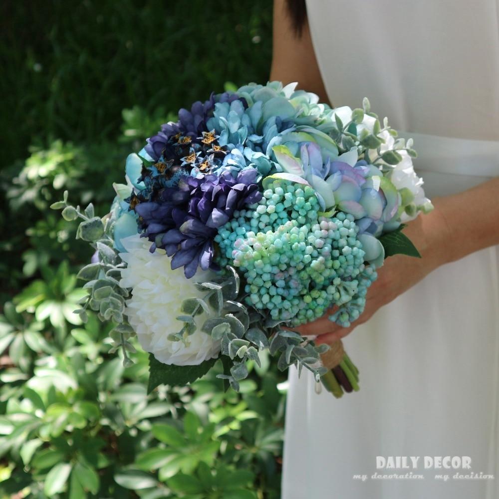 2018 New 24cm Vintage Artificial Rose Wedding Brides Bouquet
