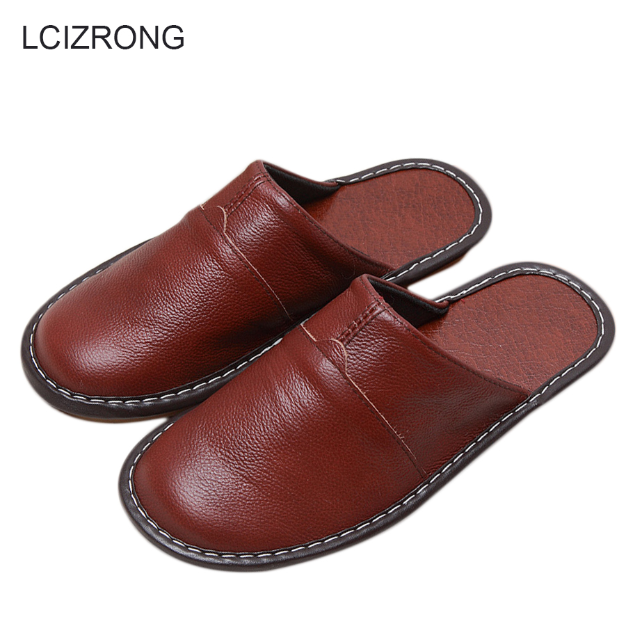 LCIZRONG 7 Colors Genuine Leather Male Slippers 35-44 Size High Quality Home Family Male Slippers Non-slip Unisex Shoes Spring