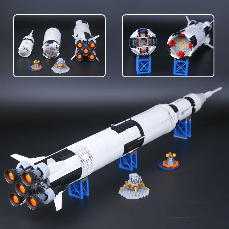 L Models Building toy Compatible with Lego L37003 1969Pcs Apollo Saturn Blocks Toys Hobbies For Children Model Building Kits 1969pcs apollo saturn v model building blocks 37003 assemble children kid toy bricks compatible with lego