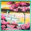 90*90 СМ 100% Twill Шелковый чувствуя Женщины Шарф печати цветочный цветок Лотоса Шаль Топ Пашмины шарфы для женщин роскошные Леди Подарок