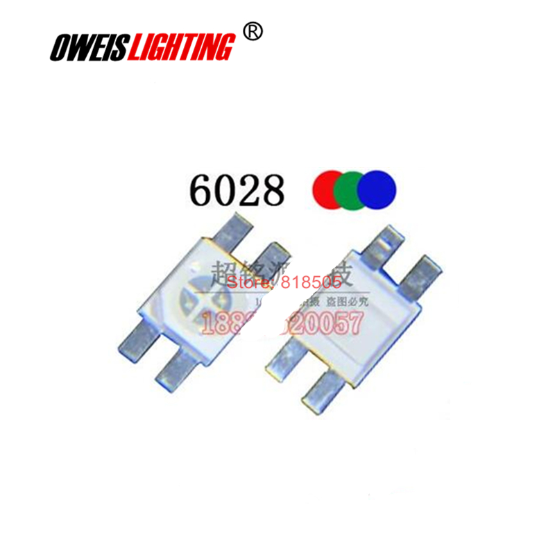50PCS 6028 RGB COMMON ANODE PLCC-4 6.0*2.8 20mA Water Clear  RED+BLUE+GREEN  FULL COLORS