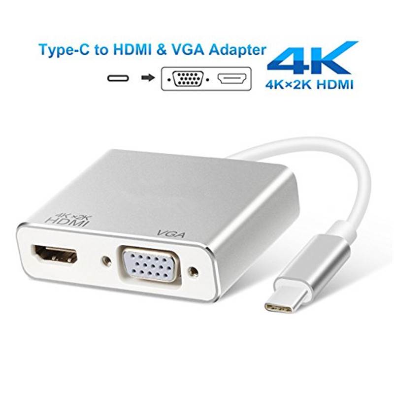 USB Type C to HDMI VGA Adapter USB C to VGA HDMI 4K UHD Video Converter Adaptor for 2017/2016 MacBook Samsung Galaxy S8/S8 Plus