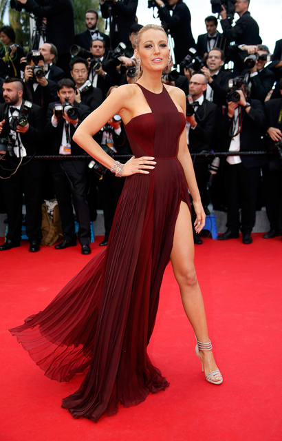 Long Elegant Formal High Slit Blake Lively dress burgundy red carpet dress  celebrity gowns plus size. Mouse over to zoom in 77ae4f25e744