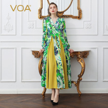 VOA Heavy Silk Plus Size Boho Green African Floral Print A Line Long Dress V Neck Women Casual Pleated Party Dresses Spring A106