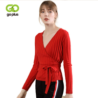 GOPLUS Fashion V Neck Knitted Sweater Women Autumn Winter Long Sleeve Womens Sweaters And Pullovers Bow Tie Sexy Tops C6290