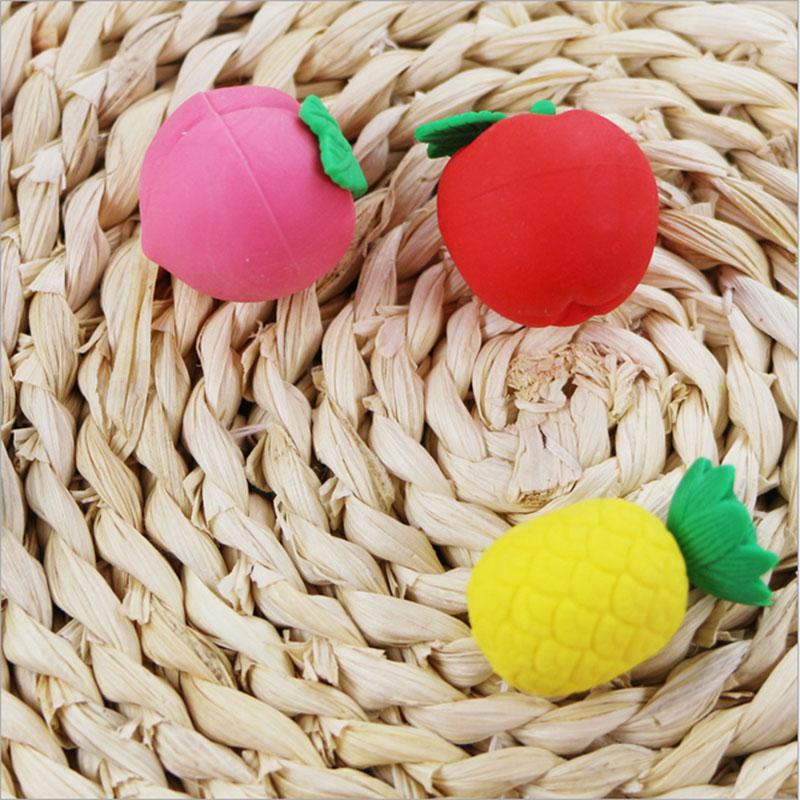 Купить с кэшбэком 3pcs/lot kawaii stationery children cute cartoon Cute mini fruit  eraser primary school prizes school Creative school supplies