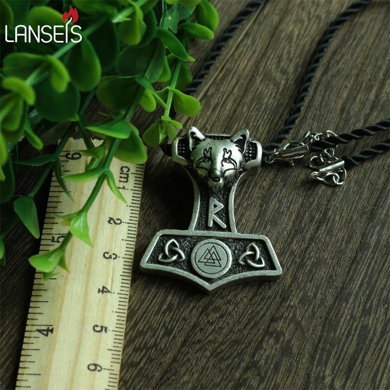 1pcs wholesale norse fox Thor Hammer pendant viking Norway valknut symbol necklace Triquetra men pendant Amulets jewelry