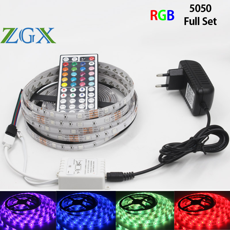 ZGX RGB LED Strip SMD 5050 30led/m 5M 10M 15M Decorate LED Light lamp ribbon tape 44K controller DC 12V adapter set waterproof 15m led strip set rgb waterproof smd 5050 led strip tape light 450leds wifi 24key controller 12v 6a power adapter diy color