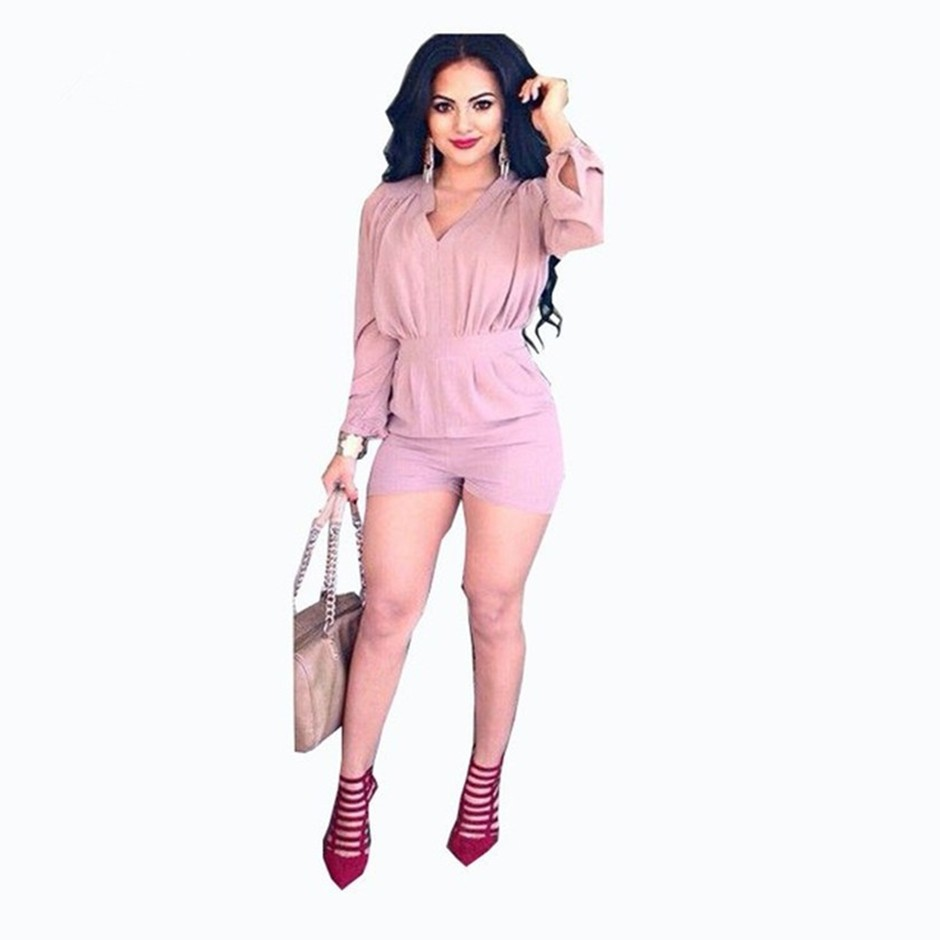 2016 New Style Fahsion Long Sleeve  Pink Trench Short Playsuit Rompers Jumpsuit Women Bandage Bodycon V-Neck Jumpsuits For Women