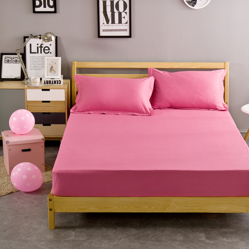 3pcs Cotton Pink Solid Color Princess Style Fitted Bed Sheet Pillow Case Metress 120x200cm 150x200cm 180x200cm Size Sheeet In From Home Garden