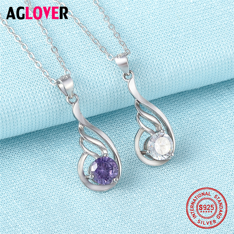 Women Silver Jewelry 925 Sterling Silver Charm Geometric Pendant Necklace 100 Sterling Silver 50cm Link Chain Fine Jewelry in Necklaces from Jewelry Accessories