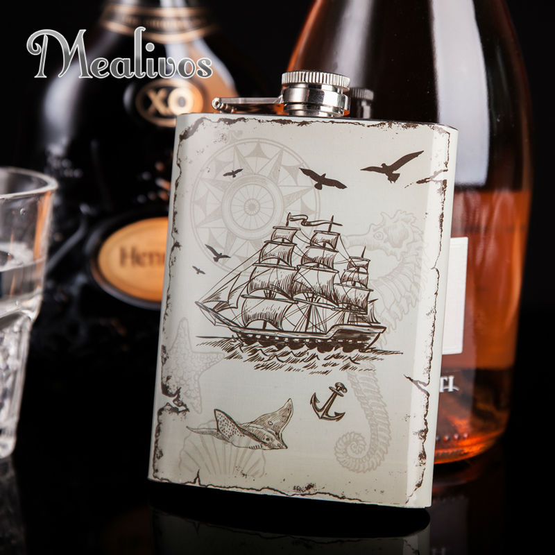 Mealivos moda estilo náutico matraz 8 oz 304 # acero inoxidable Hip Flask drinkware alcohol licor botella de whisky regalos vino olla
