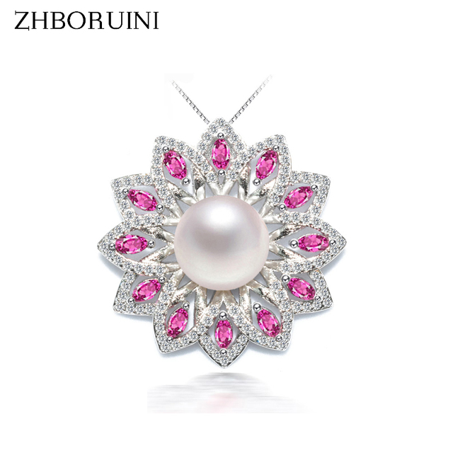 ZHBORUINI 2017 New Pearl Necklace Pearl Jewelry Natural Freshwater Pearls 925 Sterling Silver Jewelry Flower Pendants For Women