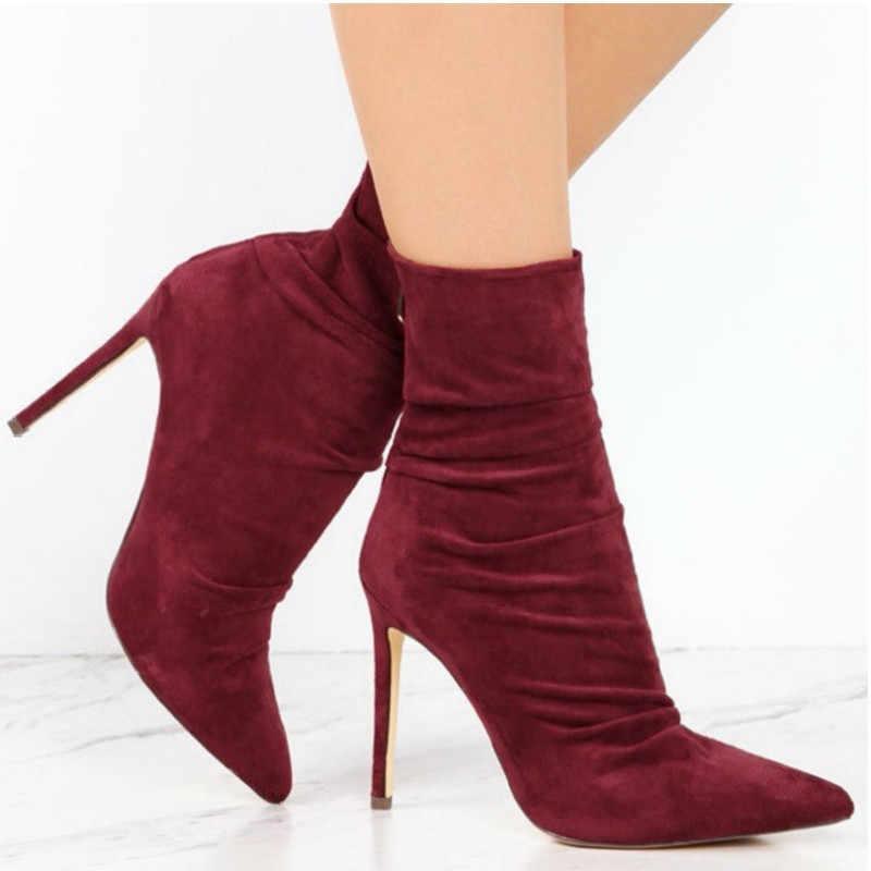 Sexy mode chaussettes élastiques bottes femmes Stretch Slim zipper bottines à talons hauts pompes femmes chaussures femme Martin bottes chaussures