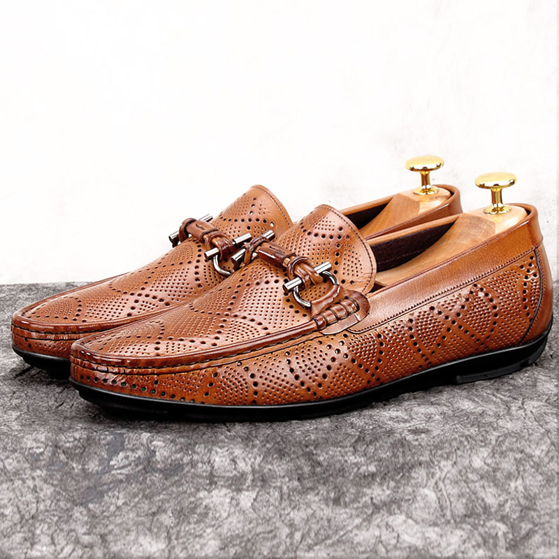 Summer Style Man Casual Moccasin Breathable Shoes Genuine Leather Male Comfortable Loafers Round Toe Men's Boat Footwear MG15 branded men s penny loafes casual men s full grain leather emboss crocodile boat shoes slip on breathable moccasin driving shoes