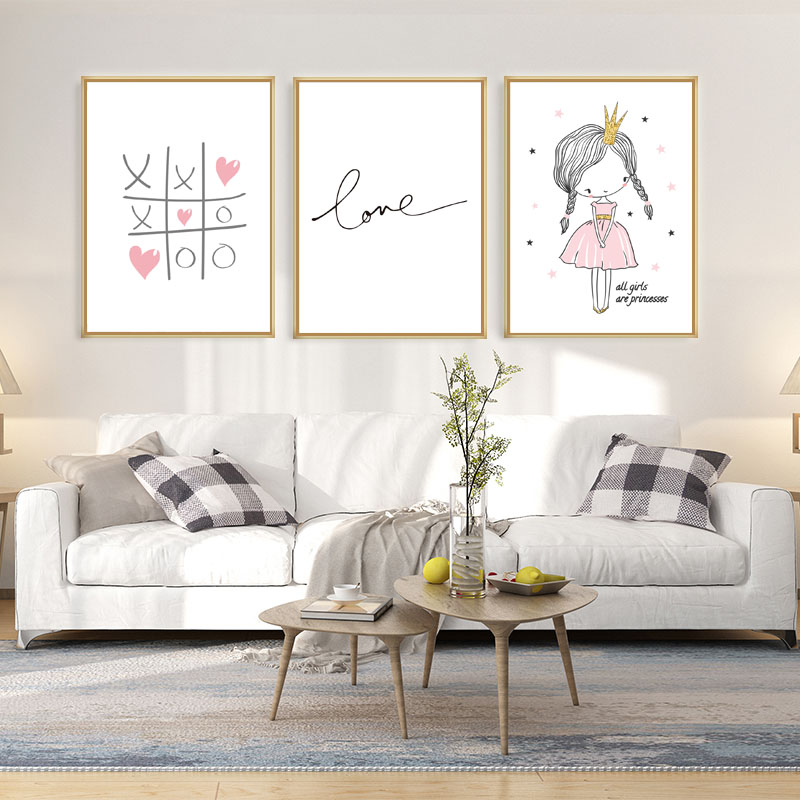 Image 3 - Love Quotes Baby Room Wall Art Canvas Painting Nordic Poster For Living Room Pink Wall Pictures Decoration Unframed-in Painting & Calligraphy from Home & Garden