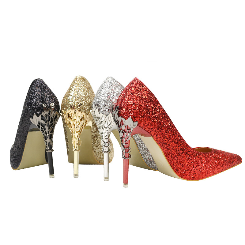 Silver Red Black Women Bridal Wedding Shoes Rhinestone Crystal Shallow Woman Pumps Stiletto High Heel Fashion Elegant shoes in Women 39 s Pumps from Shoes